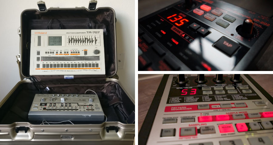 Boss and Roland samplers and vintage drum machines